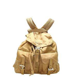 Prada Beige Nylon Tessuto Drawstring Backpack Bag