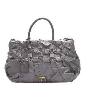 Prada Grey Nylon Gathered Tessuto Tote Bag