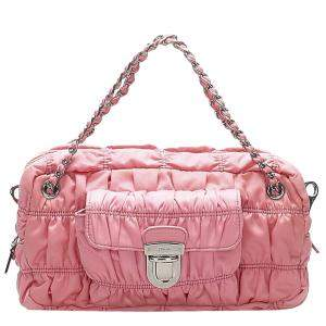 Prada Pink Nylon Tessuto Gaufre Shoulder Bag