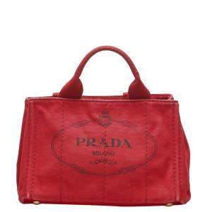 Prada Red Canvas Canapa Tote Bag