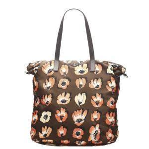 Prada Brown Nylon Tessuto Stampato Tote Bag