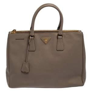 Prada Grey Saffiano Lux Leather Double Zip Galleria Tote Bag
