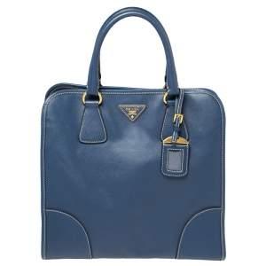 Prada Blue Saffiano Lux Leather Tote