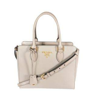 Prada Argilla Saffiano City Calf Leather Tote Bag