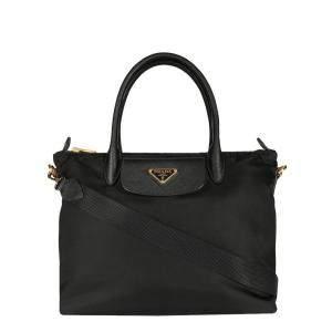 Prada Black Nylon & Saffiano Leather Tote Bag