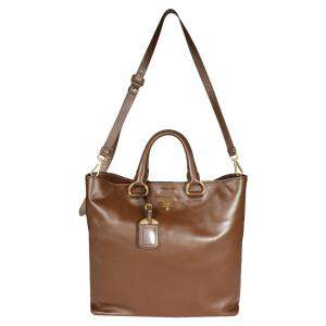 Prada Palissandro Soft Calf Leather Convertible Shopping Tote Bag