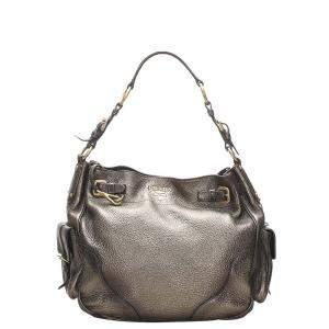 Prada Gold Vitello Daino Leather Shoulder Bag