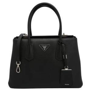 Prada Black Leather Saffiano Galleria Double Flap Tote Bag