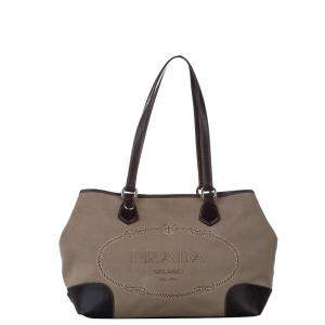 Prada Brown/Beige Canvas Canapa Shoulder Bag
