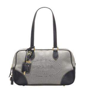 Prada Grey Canvas Canapa Shoulder Bag