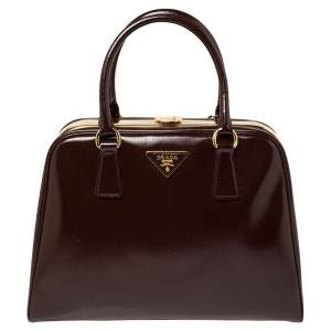 Prada Burgundy Saffiano Vernice Leather Pyramid Frame Satchel