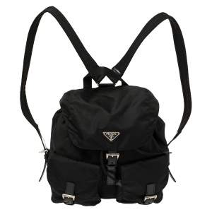 Prada Black Nylon Double Pocket Backpack