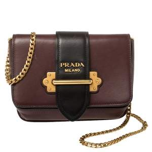 Prada Burgundy/Black Leather Cahier Belt Bag