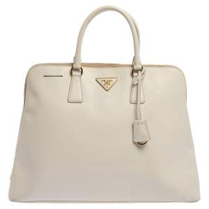 Prada White Saffiano Lux Leather Dome Satchel