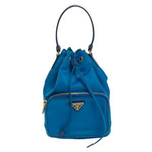 Prada Two Tone Blue Nylon Duet Drawstring Shoulder Bag