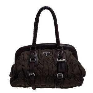 Prada Green/Brown Tessuto Gaufre Nylon And Leather Framed Satchel
