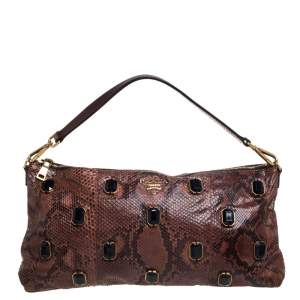 Prada Brown Python Jewel Embellished Shoulder Bag