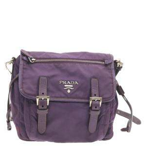 Prada  Purple Nylon Tessuto Messenger  Bag