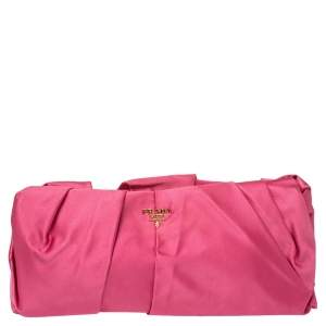 Prada Magenta Satin Pleated Raso Clutch