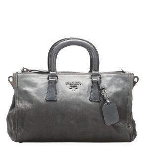Prada Grey Calf Leather Vitello Daino Satchel