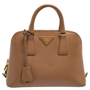 Prada Beige Saffiano Lux Patent Leather Small Promenade Bag