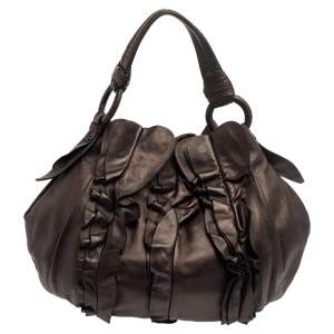 Prada Metallic Dark Brown Leather Ruffle Hobo