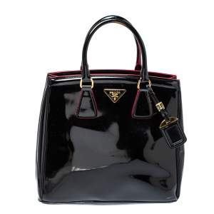 Prada Black Patent Leather Parabole Tote
