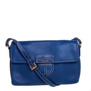 Prada Blue Leather Flap Shoulder Bag