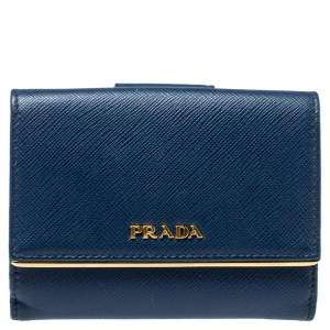 Prada Blue Saffiano Leather Metal Trifold Wallet