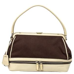 Prada Brown/Cream Canvas and Leather Cerniera Doctor Bag