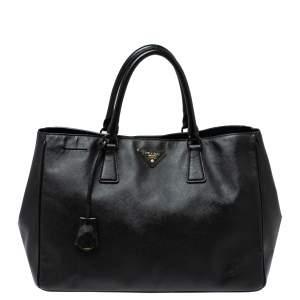 حقيبة برادا غاردينر جلد سافانو لوكس أسود كبيرة