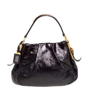 Prada Black Patent Leather Hobo