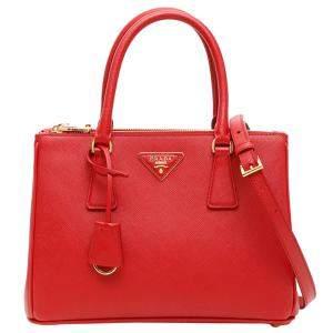 Prada Red Saffiano Lux Leather Galleria Small Bag
