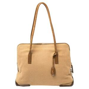 Prada Two Tone Brown Fabric/Rubber and Leather Zip Satchel
