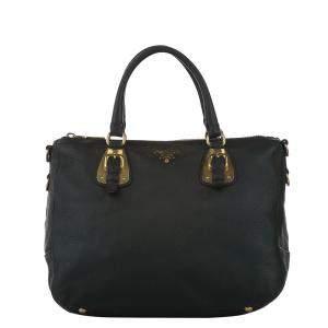 Prada Black Leather Vitello Daino Shoulder Bag