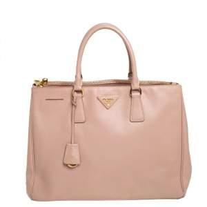 """حقيبة يد برادا """"غاليريا"""" متوسطة سحاب مزدوج جلد سافيانو لوكس عنابي"""