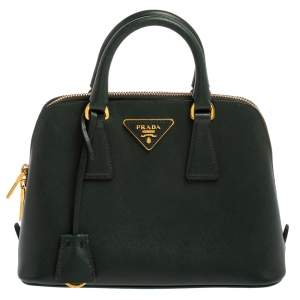 Prada Dark Green Saffiano Lux Leather Small Promenade Satchel