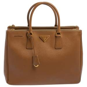 حقيبة يد برادا كبيرة سحاب مزدوج جلد سافيانو لوكس أحمر