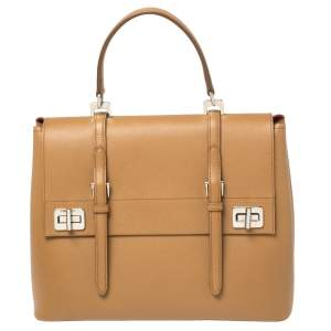 Prada Tan Saffiano Cuir Leather Double Turn Lock Top Handle Bag