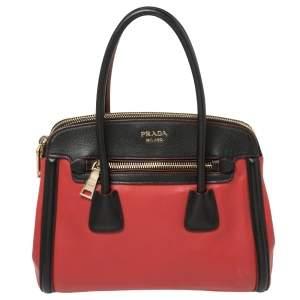 حقيبة يد برادا جلد سافيانو وجلد أحمر /أسود بسحاب مزدوج متحولة