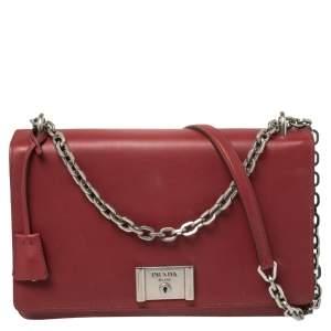 Prada Burgundy Leather Lock Flap Shoulder Bag