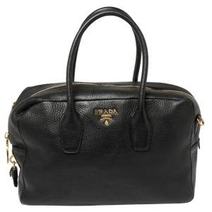 Prada Black Leather Bauletto Satchel