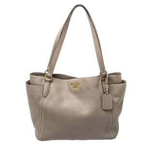 Prada Taupe Vitello Daino Leather Manici Shopper Tote