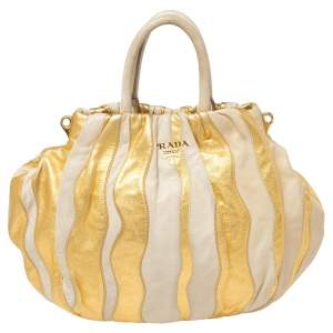 Prada Gold/Beige Stripe Leather Hobo