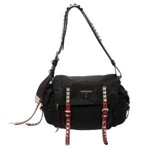 Prada Black Nylon and Leather New Vela Shoulder Bag