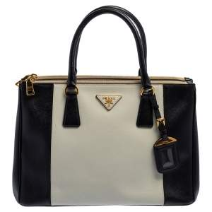 حقيبة يد برادا غالاريا متوسطة جلد لوكس سافيانو بيضاء / سوداء