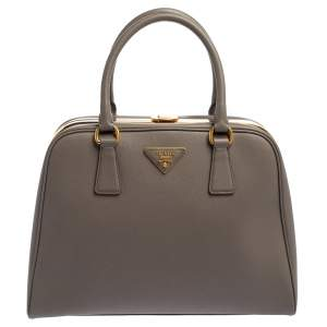 Prada Grey Saffiano Lux Leather Pyramid Frame Satchel