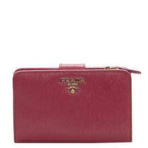 Prada Red Saffiano Leather Bi-fold Wallet