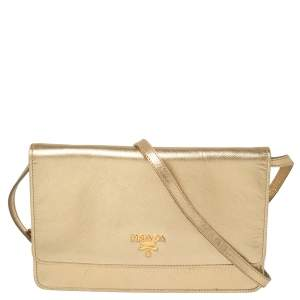 Prada Metallic Gold Saffiano Shine Leather Flap Crossbody Bag