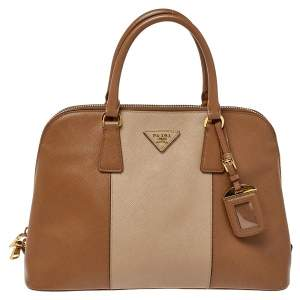 Prada Two Tone Saffiano Lux Leather Promenade Satchel